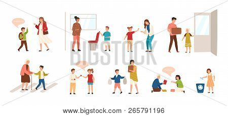 Collection of well-behaved kids isolated on white background. Set of children demonstrating good manners - open door, helping old lady to cross road, offering seat to woman. Vector illustration. poster