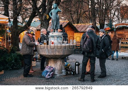 Munich, Germany - December 7, 2017: Local People Enjoying Beer Drinks And Food At Victuals Market Vi