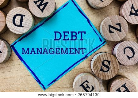 Word writing text Debt Management. Business concept for The formal agreement between a debtor and a creditor poster