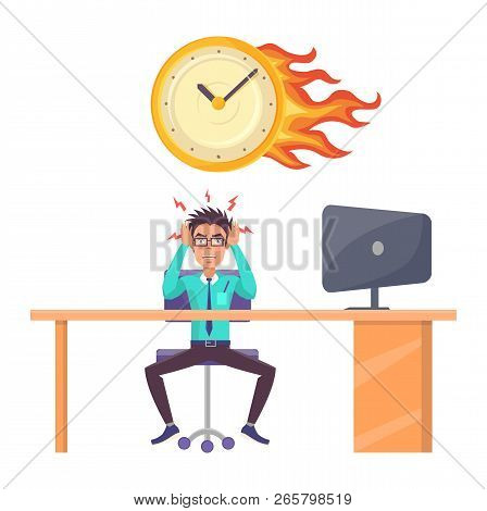 Stressed Male Office Worker And Overdue Deadline. Man Employee Suit At Desk With Computer, Wall Cloc