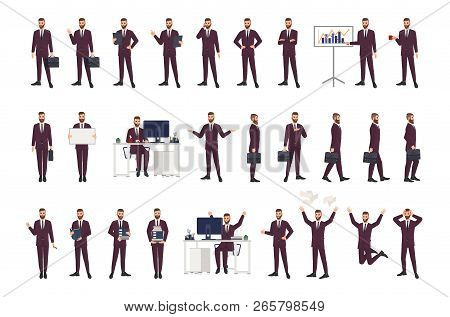 Male Office Worker, Clerk Or Manager Wearing Business Suit In Various Positions, Moods And Situation