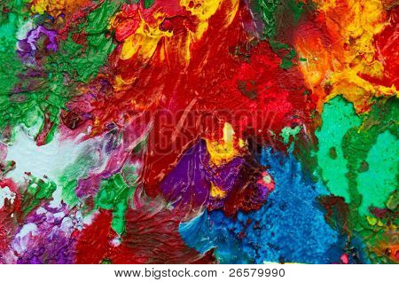 Picture, abstract painted canvas as multicolor background