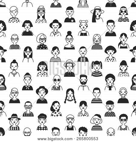 Seamless Pattern With Faces Or Heads Of Old And Young People. Backdrop With Fashionable Men And Wome