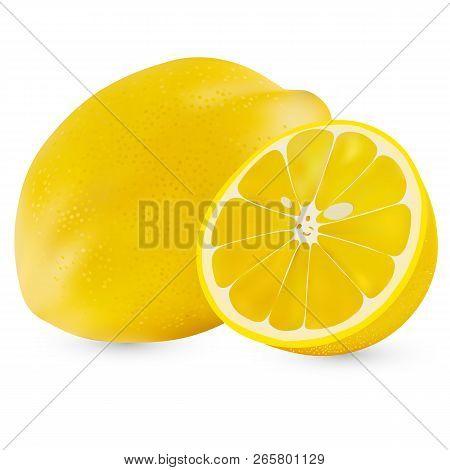 Vector Realistic Whole Lemon And Half A Lemon Isolated On White Background. Isolated Lemon On White