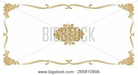 Golden Flower Ornament Pattern Frame, Border Ornament Pattern Frame, Engraving Ornament Pattern Fram