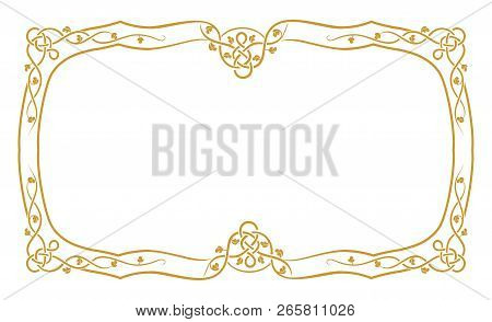 Golden Vintage Ornament Pattern Frame Vector, Border Ornament Pattern Frame, Engraving Ornament Patt