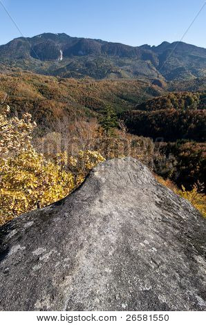 Fall Colored Forested Mountain Landscape With Cliff In Foreground