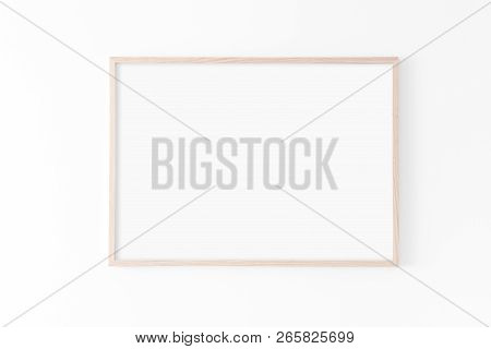 Landscape Large 50x70, 20x28, A3, A4, Wooden Frame Mockup On White Wall. Poster Mockup. Clean, Moder