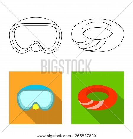 Vector Design Of Equipment And Swimming Logo. Collection Of Equipment And Activity Stock Vector Illu