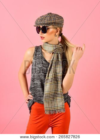 Woman Maintaining Fashion Blog. Hip Hop Girl With Fashionable Hair. Hipster Woman With Fashion Makeu