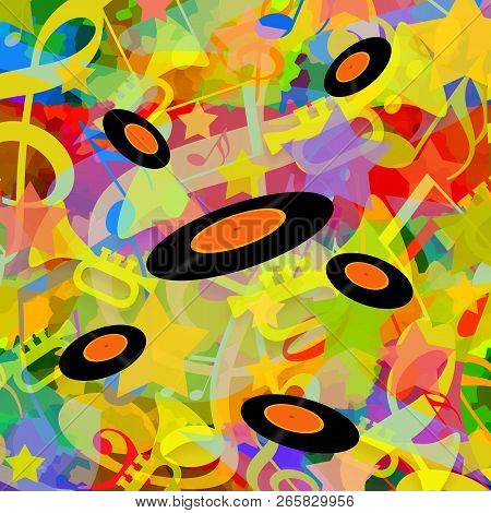 Vinyl Discs On Bright Colorful Music Playing Background With Dancing Musical Notes  And Trumpets