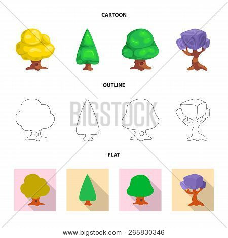 Vector Illustration Of Tree And Nature Icon. Set Of Tree And Crown Stock Vector Illustration.