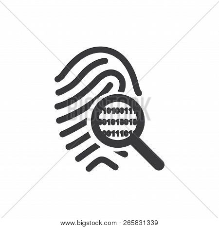Fingerprint Search Vector Icon On White Background. Fingerprint Search Icon In Modern Design Style.