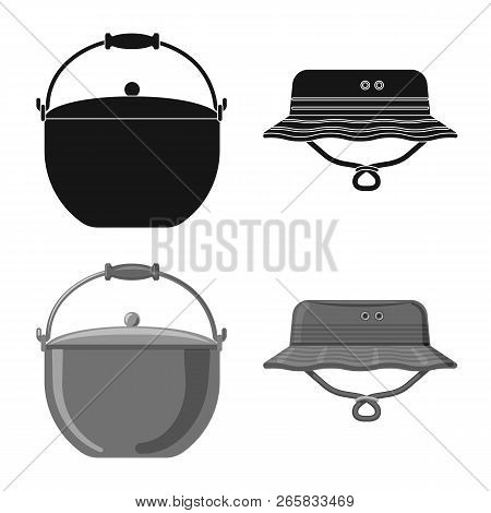 Vector Illustration Of Fish And Fishing Logo. Set Of Fish And Equipment Stock Symbol For Web.