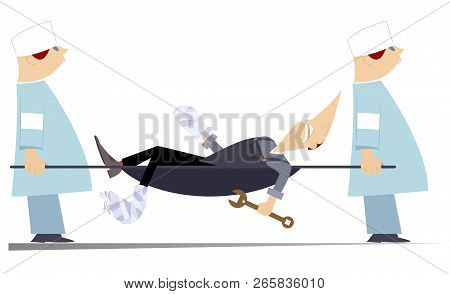 Injured Worker And Two Physicians With Stretcher Illustration. Two Physicians Carry Injured Worker W