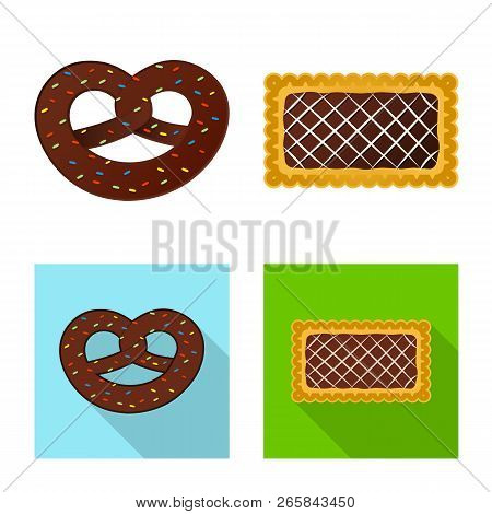 Isolated Object Of Biscuit And Bake Sign. Set Of Biscuit And Chocolate Stock Symbol For Web.