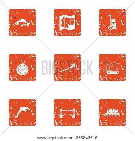Difficult Terrain Icons Set. Grunge Set Of 9 Difficult Terrain Vector Icons For Web Isolated On Whit