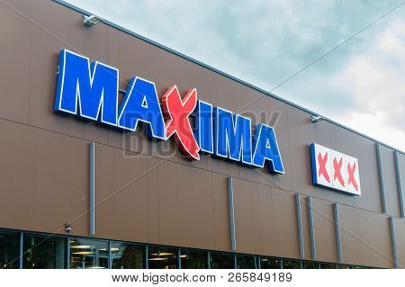 Vilnius, Lithuania - September 28, 2018:  Maxima Xxx Logo And Sign On The Store. Maxima Is A Lithuan