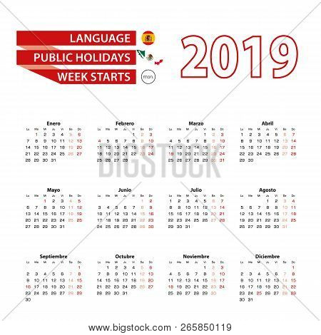 Calendar 2019 In Spanish Language With Public Holidays The Country Of Mexico In Year 2019. Week Star