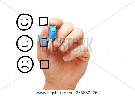 Hand Putting Check Mark With Blue Marker On Blank Average Customer Survey Evaluation Form Isolated O