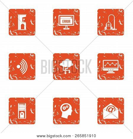 Remote Mailroom Icons Set. Grunge Set Of 9 Remote Mailroom Vector Icons For Web Isolated On White Ba