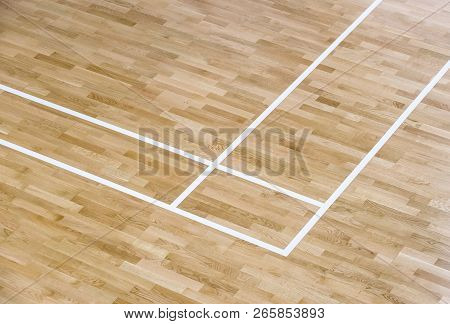 Wooden Floor Volleyball, Basketball, Badminton Court With Light Effect Wooden Floor Of Sports Hall W