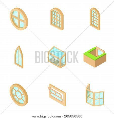 Window Opening Icons Set. Isometric Set Of 9 Window Opening Vector Icons For Web Isolated On White B
