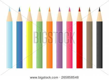 Set Of Vector Colored Pencils On White Background, Colorful Pencils  Flat Vector Illustration