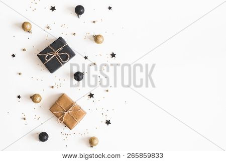 Christmas Composition. Gifts, Black And Golden Decorations On White Background. Christmas, Winter, N