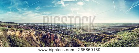 Drazovce Village And Industrial Park Nitra - North In Sunset, Slovak Republic. Autumn Panoramic Scen