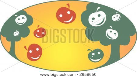 poster of Apple garden animated vector illustration trees and fruits