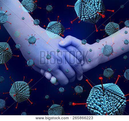 Adenovirus Outbreak Disease As A Respiratory Illness Virus Infection Causing High Fever As Hands Of