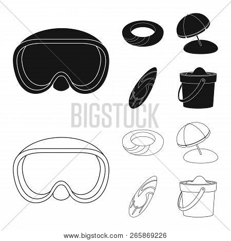 Vector Design Of Equipment And Swimming Logo. Set Of Equipment And Activity Stock Vector Illustratio
