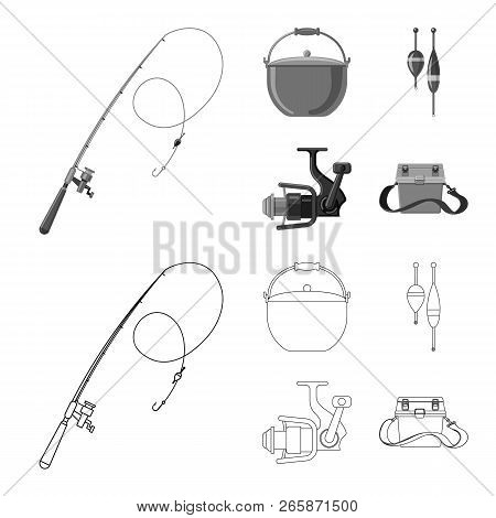 Vector Illustration Of Fish And Fishing Sign. Set Of Fish And Equipment Stock Vector Illustration.