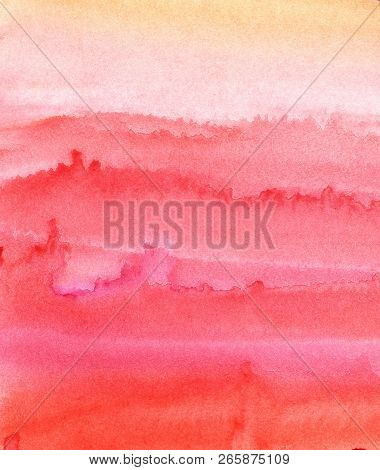 Colorful Abstract Background. Pink, Red, Laminate Watercolor Fill.hand Drawn On A Textured Paper.