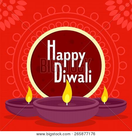 Happy Divali Concept Background. Flat Illustration Of Happy Divali Concept Background For Web Design
