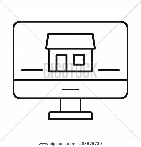 Monitor House Security Icon. Outline Illustration Of Monitor House Security Icon For Web Design Isol
