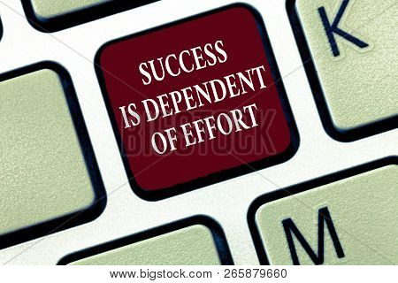 Text sign showing Success Is Dependent Of Effort. Conceptual photo Make effort to Succeed Stay Persistent poster