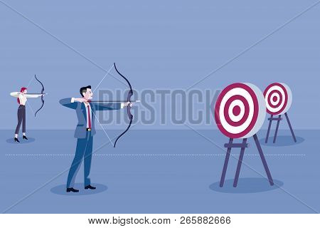 Archery And Business People. Gender Discrimination Concept. Female Discrimination At Work To Achieve
