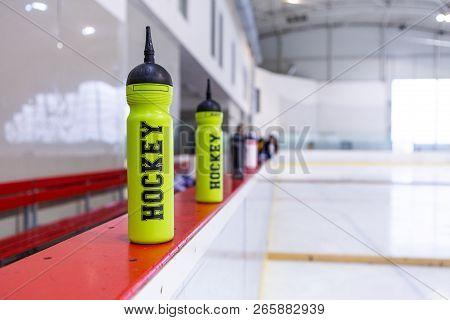 Training Ice Hockey Rink, Bottle On Board