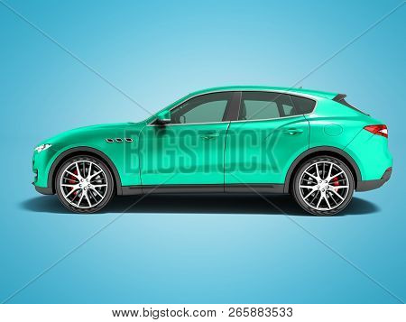 Modern Turquoise Car Crossover For Business Trips Side View 3d Render On Blue Background With Shadow