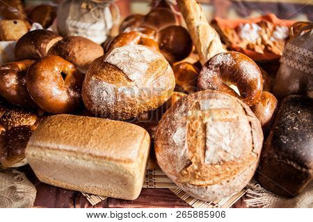 Arrangement With Bakery Products.various Bakery Products In Stock. Buns, Bread, Bagels