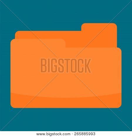 Orange Folder Icon. Flat Illustration Of Orange Folder Icon For Web Design