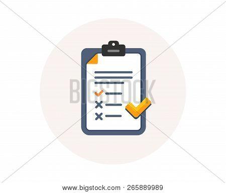 Clipboard With Checklist Icon. Agreement Document Sign. Feedback List Symbol. Survey Checklist Form.
