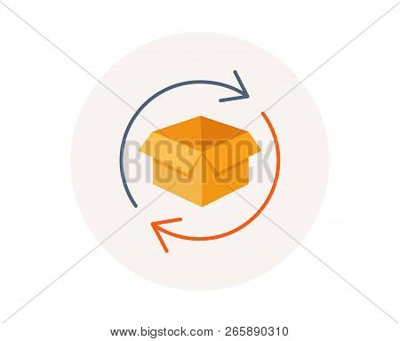 Return Parcel Icon. Exchange Of Goods Sign. Package Tracking Symbol. Distribution Or Delivery Parcel