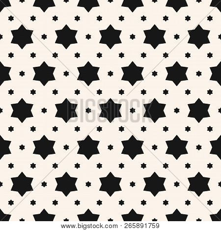 Vector Minimalist Seamless Pattern. Simple Black And White Texture With Small Stars, Floral Shapes.