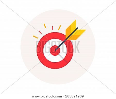 Target Goal Icon. Marketing Targeting Strategy Symbol. Aim Target With Arrow Sign. Archery Or Goal S