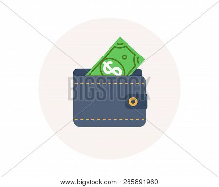 Wallet Icon. Dollar Money Cash. Financial Payment. Finance Savings. Wallet With Dollar. Colorful Fin