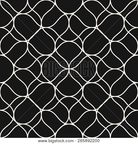 Vector Mesh Seamless Pattern With Thin Curved Interlacing Lines. Black And White Illustration Of Fis