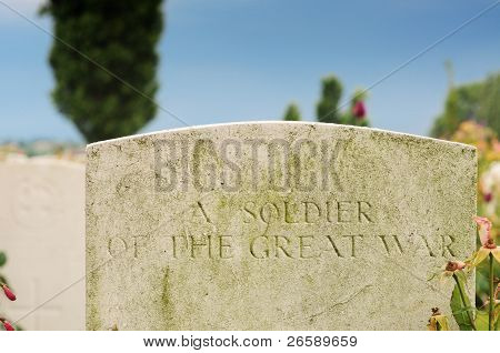 Grave of unknown fallen soldier in World War I at Tyne Cot cemetery in Passchendaele Ypres Flanders poster